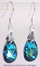 Sterling Silver BERMUDA BLUE Pear Teardrop Crystal Earrings SWAROVSKI ELEMENTS