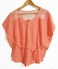 CORAL LOOSE FIT TOP WITH LACE DETAIL & BATWING SLEEVES.