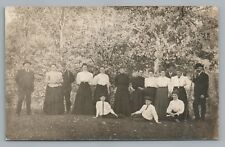 """""""At the Pumping Station"""" Family in White & Black RPPC Mirmont Photo Paper 1910s"""