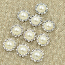 10Pcs 15mm Pearl Rhinestones Buttons DIY Flat Back Craft Making Hair Accessories
