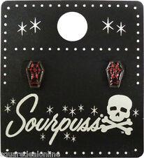 60109 Black & Red Coffin Spiderweb Earrings Sourpuss Casket Goth Punk Rock Dark