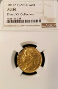 1812 A FRANCE GOLD 20 FRANCS RIVE D'OR COLLECTION NGC AU 50