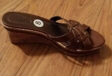 Women's SBICCA SLIDE IN WEDGE HEEL SANDALS BROWN  Shoes Size 8