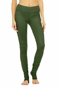 ALO YOGA Idol Olive Green Fitness Gym Yoga Over Heel Leggings NEW WITH TAGS