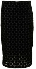 TOPSHOP Ladies Black Devoree Spotty Velvet Bodycon Pencil Skirt Size 6 NEW MG8