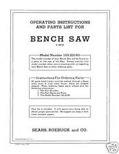 Sears Craftsman  Table Saw Manual Model # 103.22160
