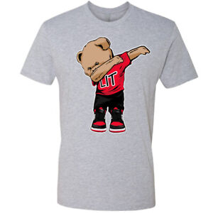 🔥 Lit Dabbing Teddy Bear Pop Culture Party Jordan mens T shirt graphic shirt