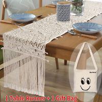Moroccan Macrame Table Runner Cotton Fringe Boho Wedding Party Home Decor