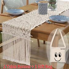 """86"""" Natural Handmade Vintage Macrame Table Runner Bed Runner Boho Wedding Decor"""