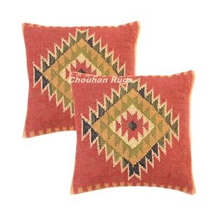 2 Set of Vintage Kilim Pillows Hand Woven Jute Rug Rustic Pillow cover 1019-BB