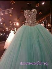 Sweet 16 Mint Green Crystal Quinceanera Dress Ball Gown Evening Prom Bridal Gown