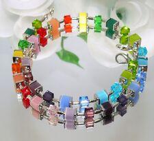 TRAUM Kette Würfelkette Cat Eye bunt multicolor funkelndes Kristallglas 095L