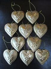 Set of 10 Vintage Hanging HEART Metal Shabby Chic Decoration GOLD