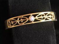 Vintage Avon Gold Tone & Fire Opal Bangle / Cuff Bracelet