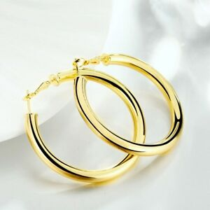 18K Gold Plated 5mm thick Round eXtra-Large Tubular Hoop Earrings H792G
