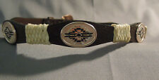 "Dun Dee Belt 28"" wrap design stamped oval zia brown belt NWT silver buckle 1203"