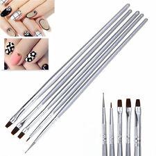 5pcs Pinceaux Brosse UV Gel Peinture Dessin Ongle Liner Plat Déco Manucure