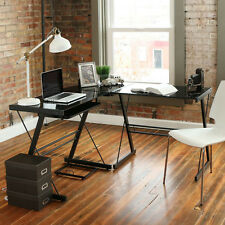 new computer desk pc glass laptop table workstation corner home office l shape - Home Office L Shaped Desk