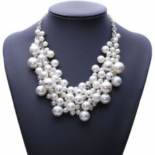 New White Pearl Multi Layer Necklace Ladies Statement Bib Beaded Vintage Chunky