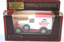 Matchbox of Yesteryear No:Y-22 1930 FORD Model A Van in Collectors GAZETTE Cream
