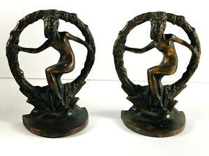 Antique 1920's Art Deco Nudes Flapper Dancer Bronze Paint Bookends