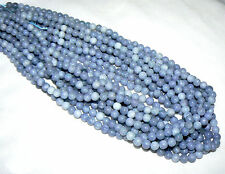 Grade AAA Natural & Untreated Blue Lace Round Agate, 6mm, 17.5 inch strand