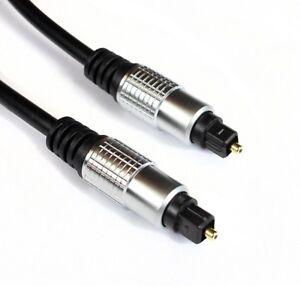 2m Toslink Kabel Optisch   Audio LWL SPDIF Digital   Metallplug zwei Meter