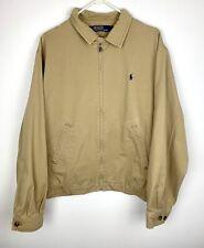 Polo Ralph Lauren Zip Up Jacket Khaki Tan 100% Cotton Men's Size Large