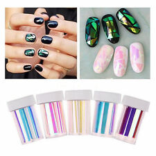 5 Colors Newest Broken Glass Foils Finger Diy Nail Art Stencil Decal Stickers#V