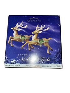 HALLMARK SANTA'S MIDNIGHT RIDE REINDEER TWO FOR THE SKIES GREEN  NEW