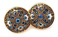 Zest Antiguo De Oro Disco Incrustaciones En Cristal De Swarovski Stud pendientes perforados Azul