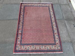 Vintage Hand Made Traditional Oriental Wool Pink Red Small Rug 155x100cm