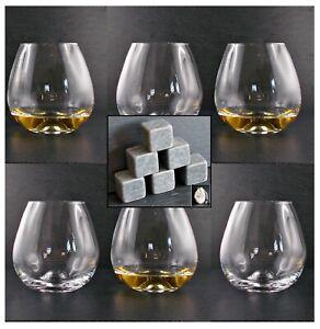 6 Amy Gläser + 6 Kühlsteine Speckstein Whisky Rum Cognac Whiskey Glas Tumbler