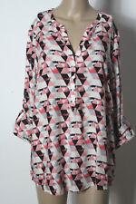 TOM TAILOR Bluse Gr. 40 schwarz-weiß-grau-lachs Muster Fischerhemd/Bluse/Tunika