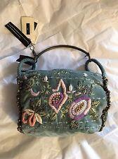 New Day Birger Et Mikkelsen Aqua Embroidery & Bells Cotton Velvet Hand Bag