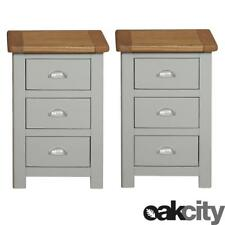 Pair of Aspen Oak Bedside Tables / Painted Bedside Cabinets / Grey Solid Wood