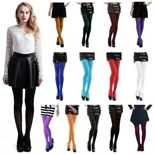 Women's Opaque Tights Solid Pantyhose Footed Stockings Winter Autumn Hosiery