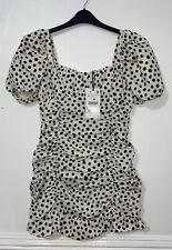 Mini Vestido Zara Negro Blanco Drapeado Estampado A Lunares Con Hombros de soplo Talla M