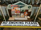 Antique RAILROAD SIGN - ILLINOIS CENT. - PORCELAIN - ATHENTIC - 2 SIDED  SMOKING