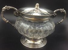 Antique Christofle Silver Plated Cut Glass Two Handled Sucrier