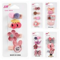 4Pcs Hairpin Set Baby Girl Hair Clip Bow Flower Mini Barrettes Star Kids Infant