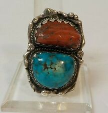 Vintage Sterling Silver Turquoise & Coral SW Ring, Size 9.75