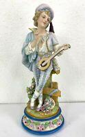 "Antique French L&M Bisque Porcelain Figurine, Boy with Guitar, 19"" H."