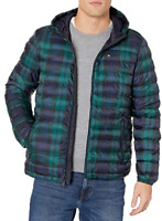Tommy Hilfiger Men's Ultra Loft Hooded Logo Puffer Jacket NWT Navy/ Green Print
