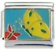 BUTTERFLIES FLYING Enamel Italian 9mm Charm BI241 Fits Nomination Classic