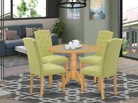 5pc dinette kitchen dining set round pedestal table + 4 parsons chairs light oak