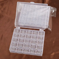 25pcs Spools Bobbins Case Organiser Sewing Machine Bobbin Storage Clear Box
