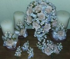 Cascading Peach Roses Clay Bridal Bouquet, Candles, Accessories 11 Pieces