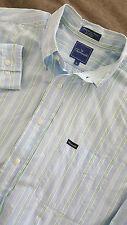 FACONNABLE Men's Long Sleeve Striped Blue Dress Shirt Size XL Oxford Collar