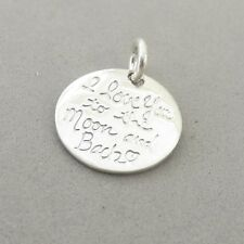 .925 Sterling Silver I LOVE YOU TO THE MOON AND BACK CHARM Heart NEW 925 WR23